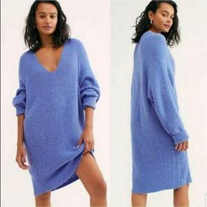 Free People Longline Ribbed V Neck Tunic Sweater